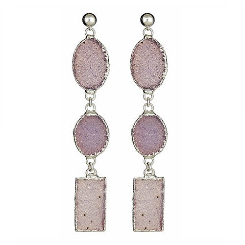 Amethyst Triple Druzy Dangling Earrings