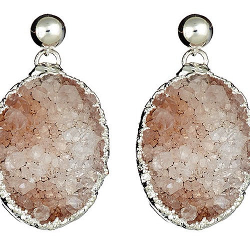 Large Oval Druzy Sterling Silver Earrings