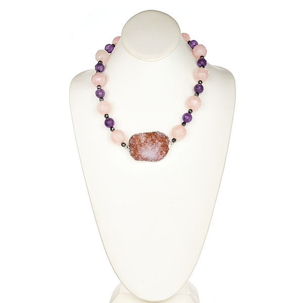 Rose Quartz, Amethyst, Druzy Center Statement Necklace