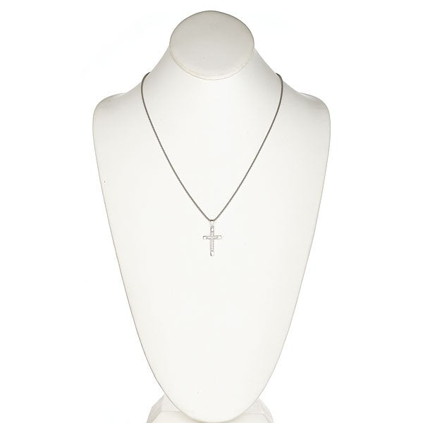 Sterling Silver Pave CZ Cross Pendant Necklace