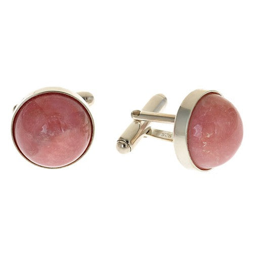 Pink Opal Round Cufflinks set in Sterling Silver Bezel
