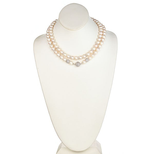 Pearl Necklace with CZ Pave Sterling Silver Clasp