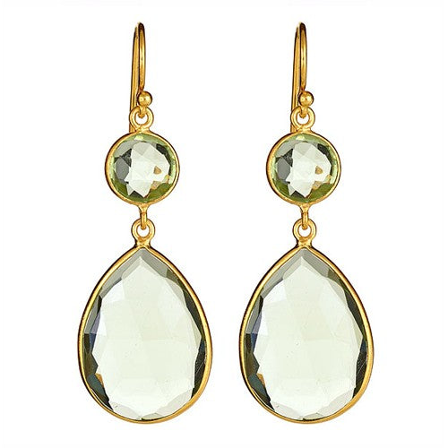 Green Quartz Ps and Round Vermeil Earrings