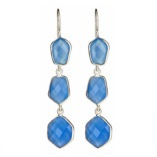 Ocean Blue Chalcedony Triple Drop Sterling Silver Earrings