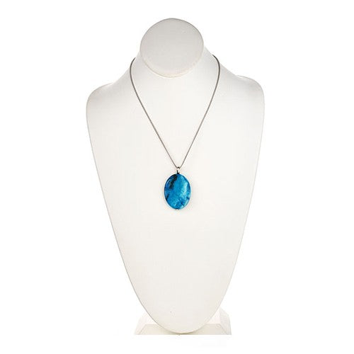 Ocean Blue Oval Pendant on Sterling Silver Rope Chain