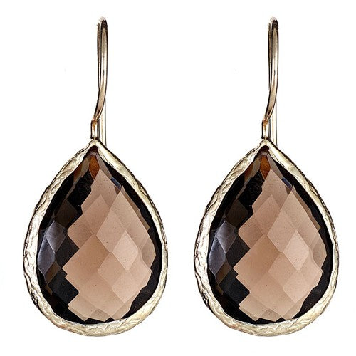 Smoky Quartz Dangling Sterling Silver Bezel Set Pear Shape Earrings