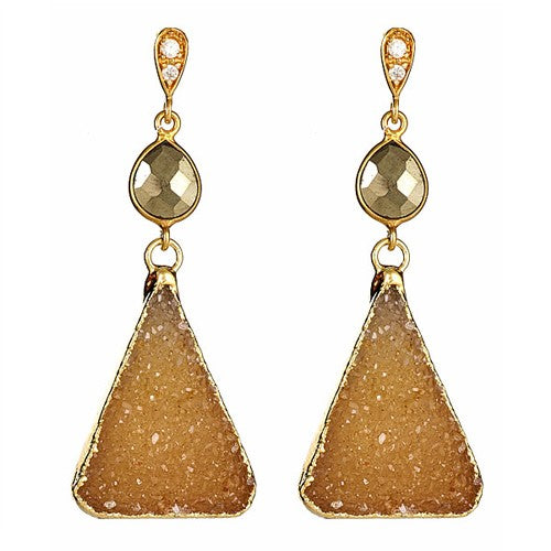 Triangle Druzy with CZ Pave Earrings