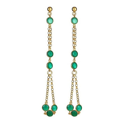 Green Agate and Vermeil Long Dangling Earrings