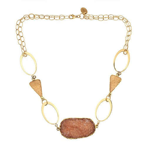Druzy and Vermeil Mutli Chain Necklace