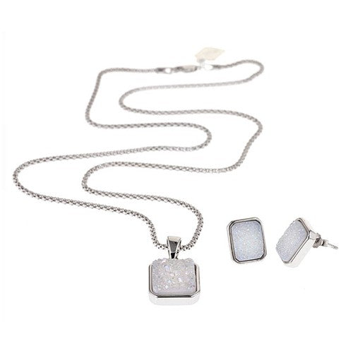 Druzy Rectangle Silver Pendant Necklace with Matching Earrings