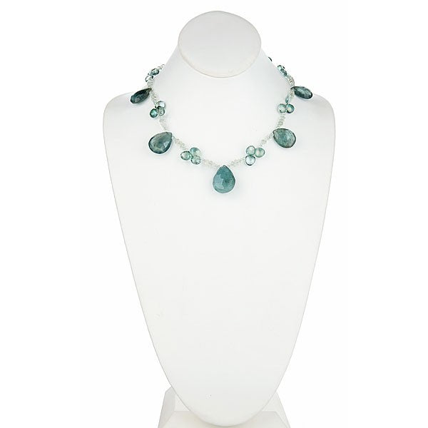 Moss Green Aquamarine & Green Amethyst Single Strand Statement Necklace