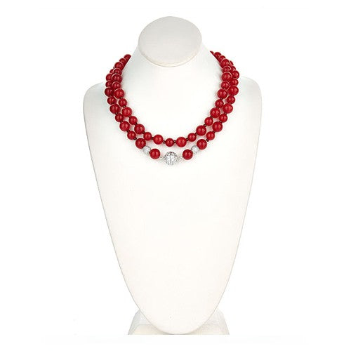 Red Jade Necklace with Sterling Silver CZ Pave Clasp