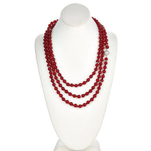 Load image into Gallery viewer, Red Jade Long Necklace with CZ Pave Sterling Silver Clasp