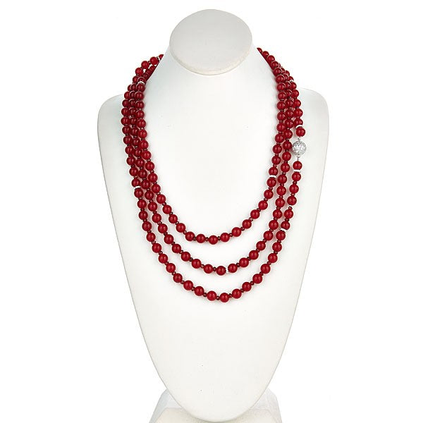Red Jade Long Necklace with CZ Pave Sterling Silver Clasp