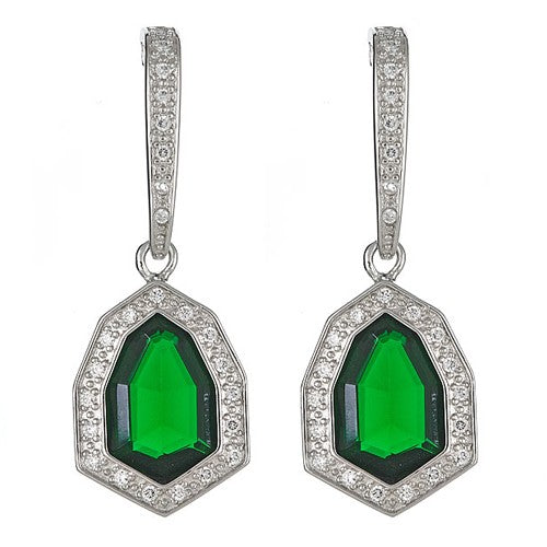 CZ Sterling Silver Dangling Earrings with Emerald Quartz Center