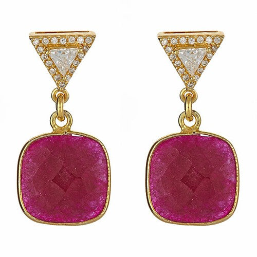 Ruby Cushion Earrings with Trillion CZ Pave Post