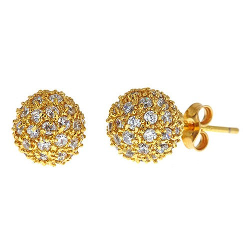 CZ Pave Starburst Vermeil Earrings