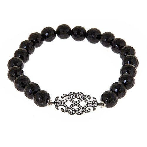 Black Pave CZ Filagree Center Onyx Stretch Bracelet