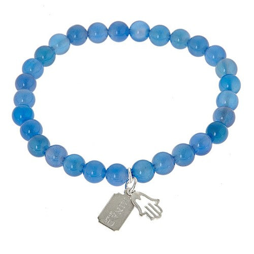 Blue Jade with Sterling Silver Hamsa Stretch Bracelet