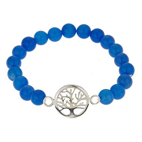 Blue Jade Stretch Bracelet with Sterling Silver Tree of Life Center