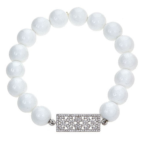 White Agate Stretch Bracelet with CZ Pave Rectangle Center