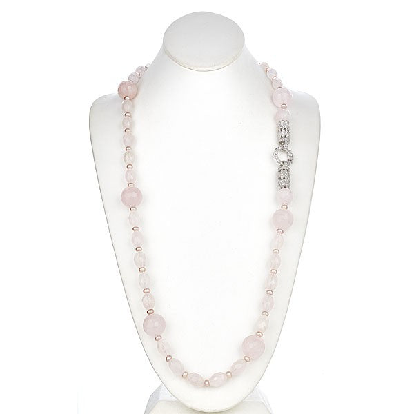 Long Rose Quartz Necklace with Sterling Silver Deco CZ Clasp