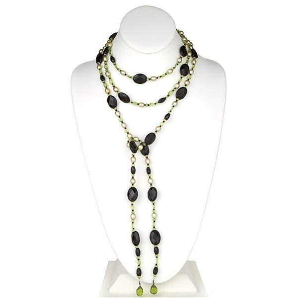 Pearl, Onyx and Peridot Lariat