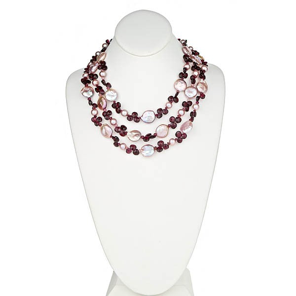 Coin Pearl & Briolle Garnet Necklace