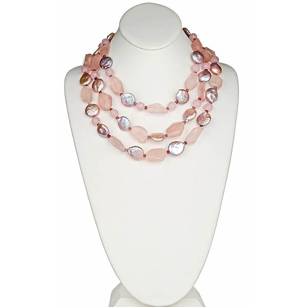 Rose Quartz and Iredescent coin pearl necklace