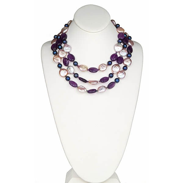 Amethyst & Iredescent Pearl necklace