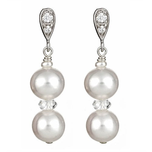 White Round Pearl Earrings with Sterling Silver CZ Post