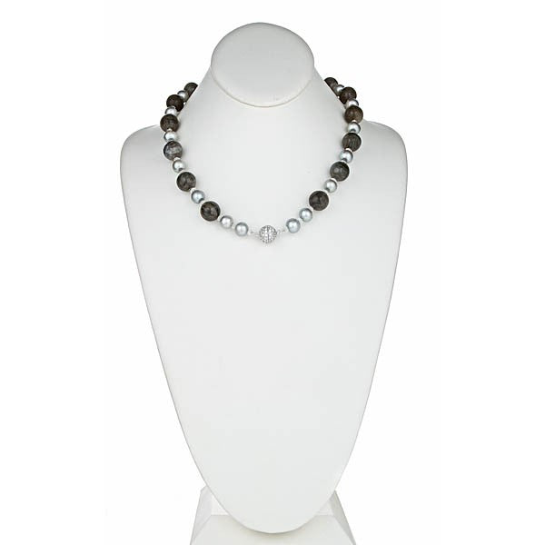 Labradorite & Silver Grey Pearl Necklace with pave CZ Clasp