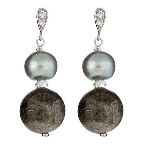 Labradorite & Silver Grey Pearl Earrings with CZ Post