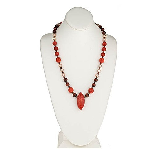 Red Sponge Coral, Red Tiger Eye, Champagne Pearl Pendant Necklace
