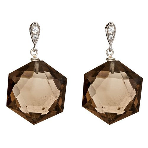 Smoky Quartz & CZ Pave Earrings
