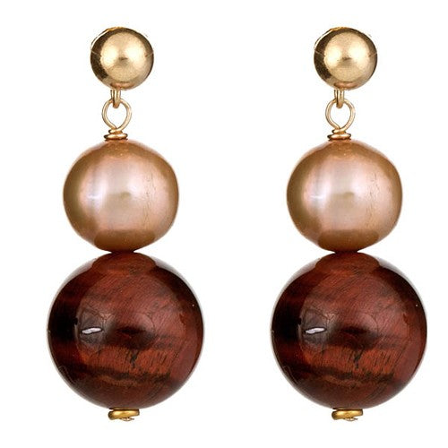 Red Tiger Eye & Champagne Pearl Earrings