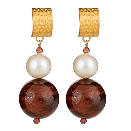Red Tiger Eye & Pearl Earrings