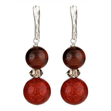 Load image into Gallery viewer, Red Tiger Eye & Red Sponge Coral Earrings