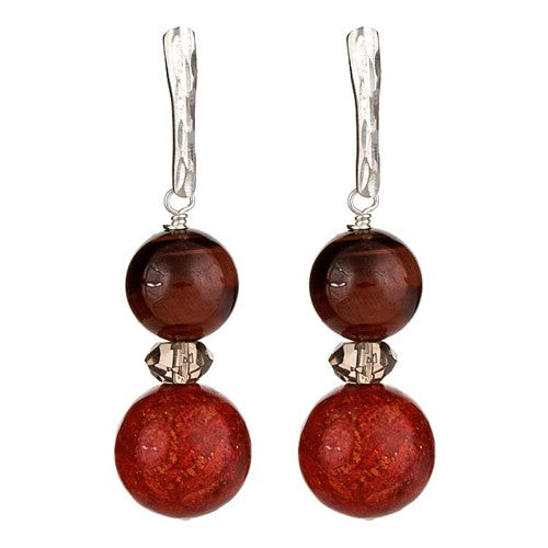 Red Tiger Eye & Red Sponge Coral Earrings