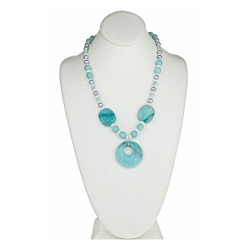 Amazonite & Silver Grey Pearl Pendant Necklace