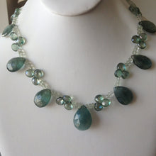 Load image into Gallery viewer, Moss Green Aquamarine & Green Amethyst Single Strand Statement Necklace