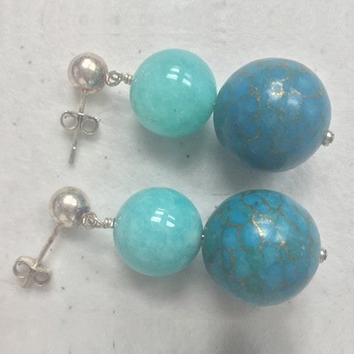 Turquoise and Amazonite Earrings