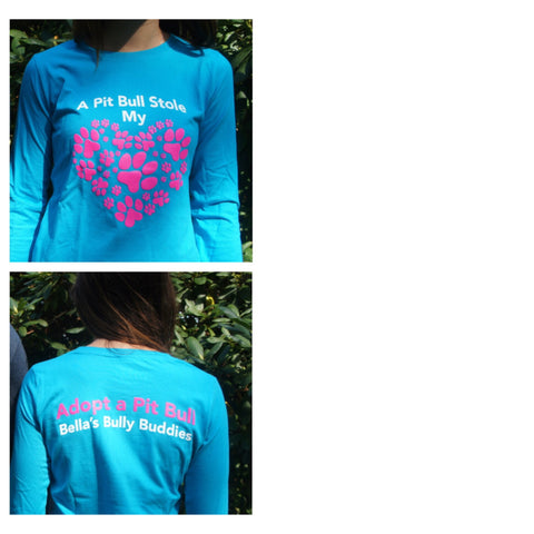 "T-shirt ""A Pit Bull Stole My Heart"" Long Sleeve Ladies"
