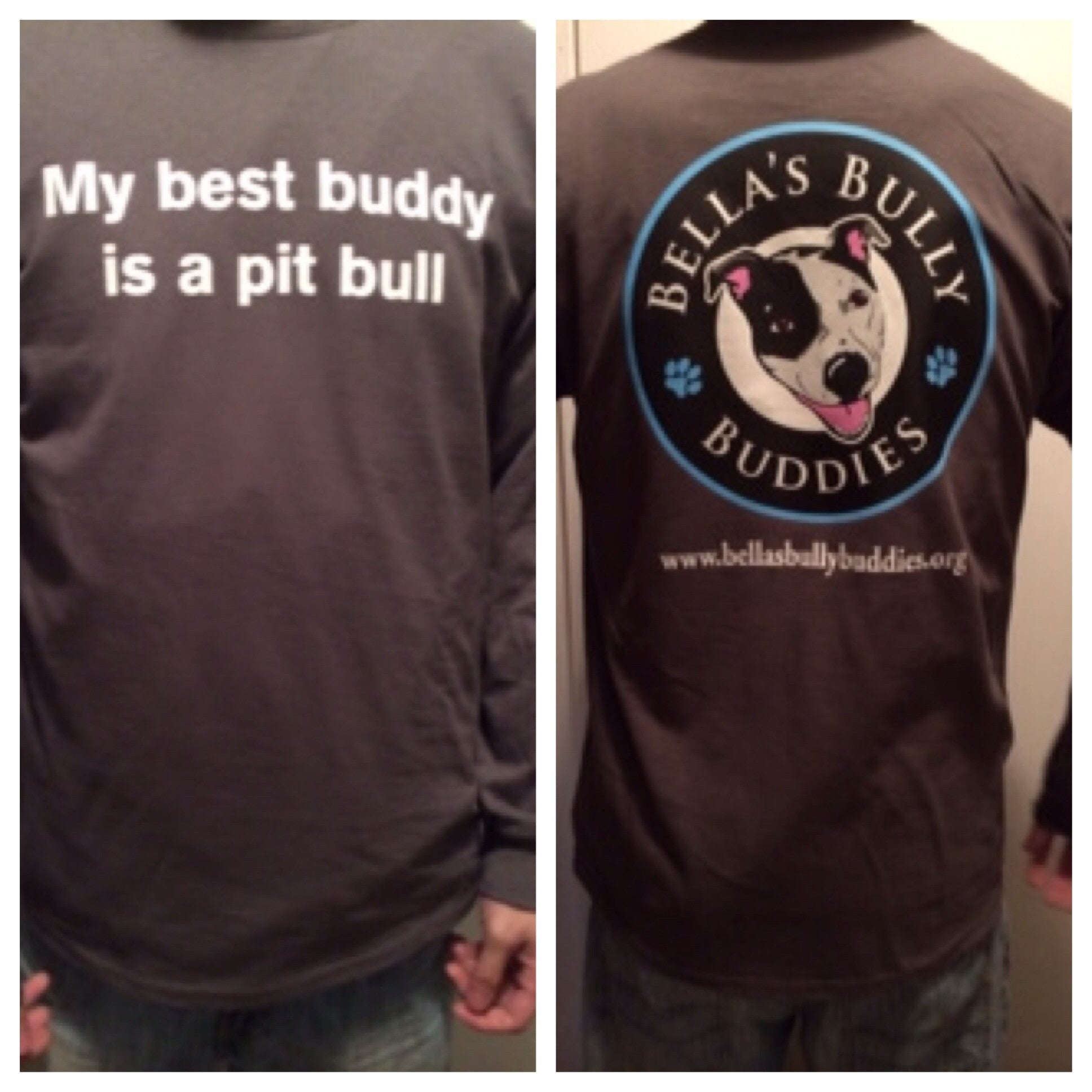"T-shirt ""My Best Buddy Is A Pit Bull"" Long Sleeve Unisex"