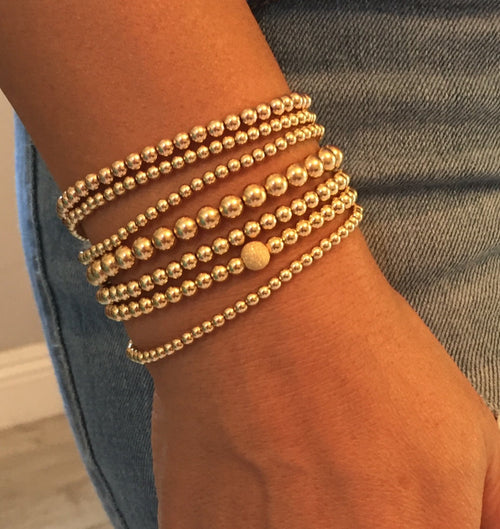 14k Gold Filled Bead Bracelets