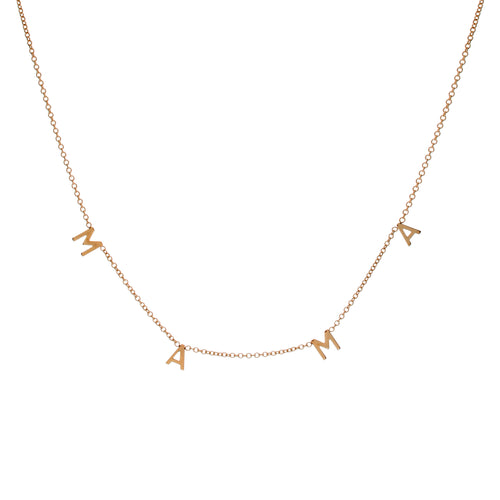 14k Gold MAMA Necklace - Spaced