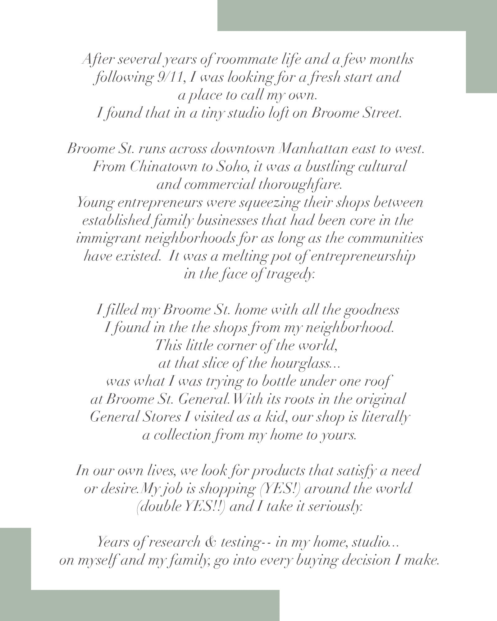 a note from our founder broome street general store