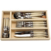 Laguiole Wooden Tray 24 Piece Flatware Set, Black