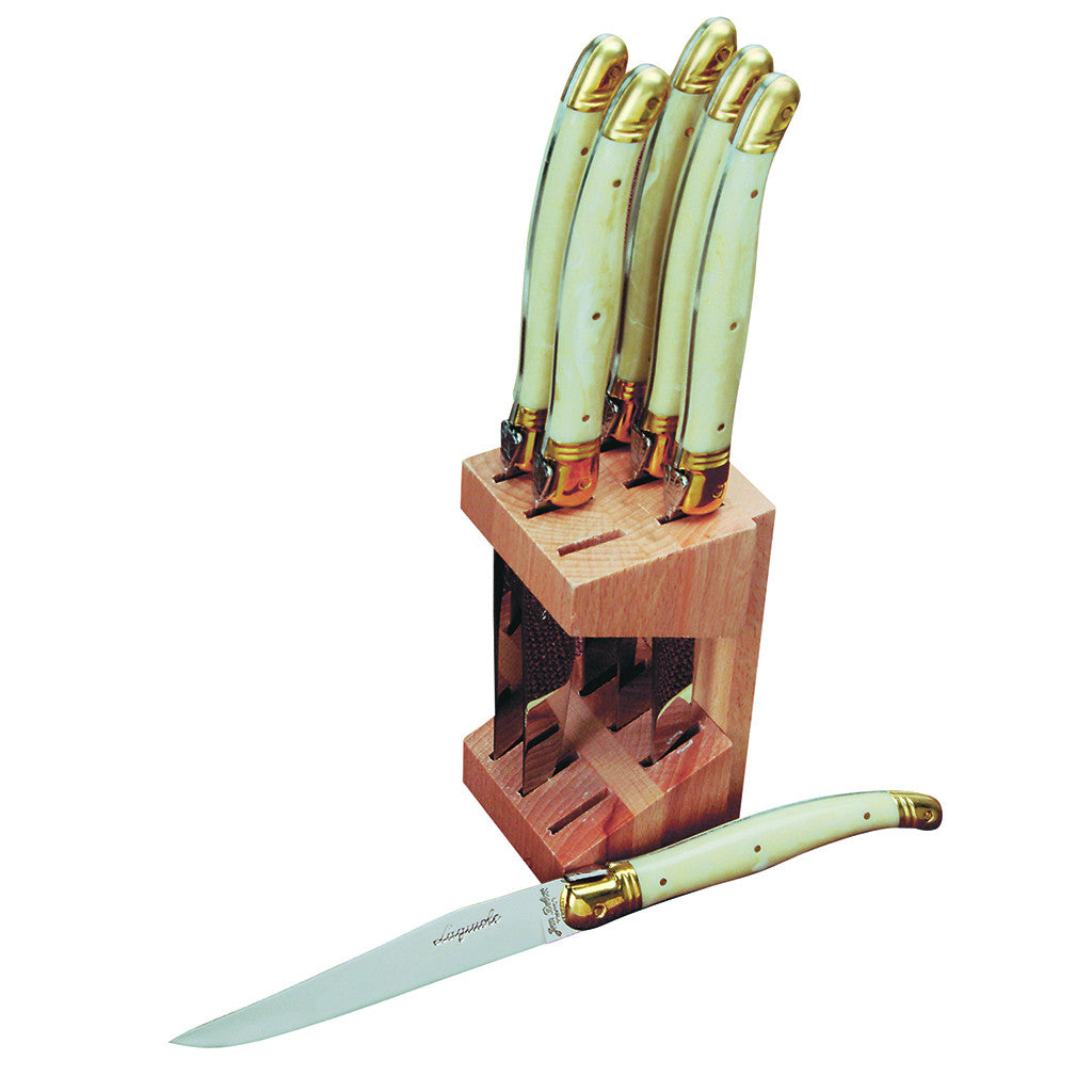 6 Steak Knives in Wooden Block, Ivory