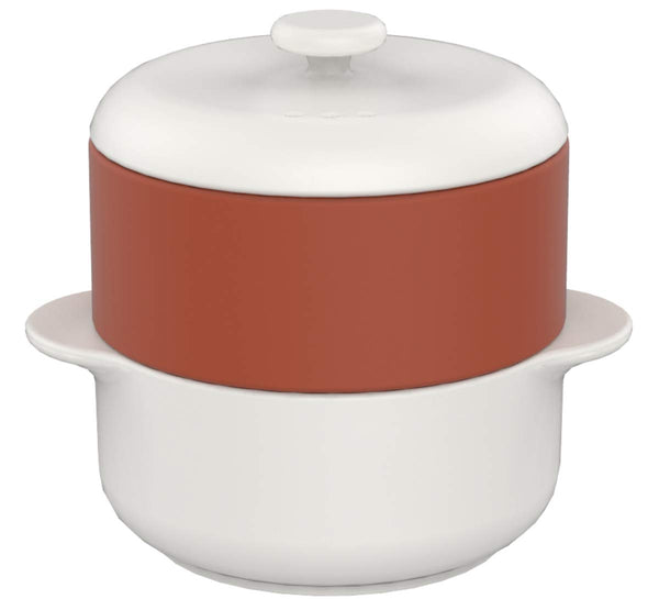 Steamer II Set, White with Terra Cotta Basket